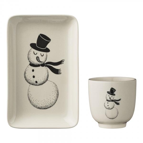 Kopp og asjett med snømann